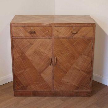 Art Deco walnut side cabinet by Maple & Co