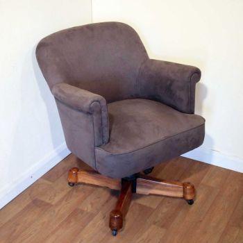 Art Deco walnut adjustable swivel desk chair by Maple & Co