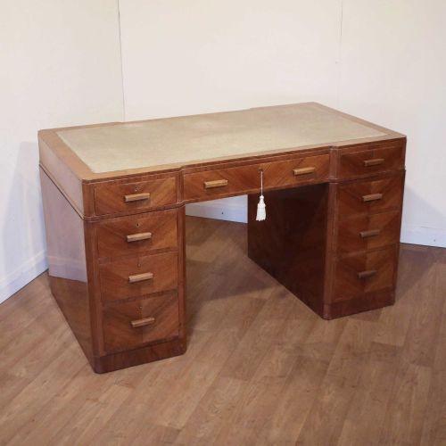 Art Deco walnut pedestal desk by Maple & Co