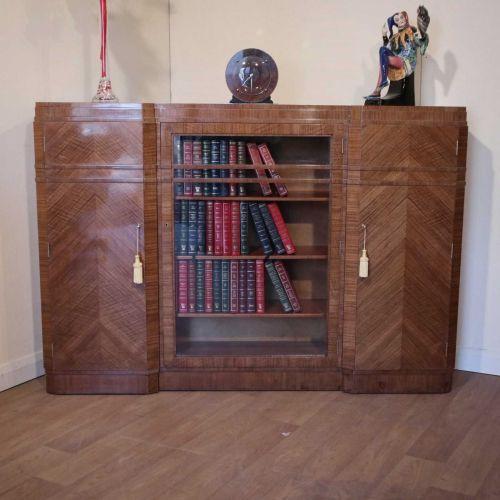 Fine Art Deco walnut bookcase by Maple & Co