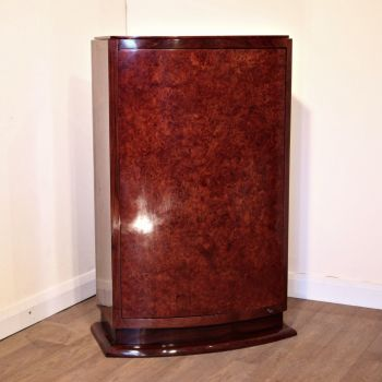 Unusual Art Deco French amboyna and rosewood cocktail cabinet