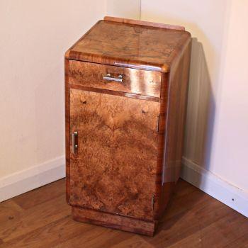 Art Deco walnut bedside cabinet by Heals of London