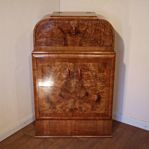 Art Deco burr walnut cocktail cabinet with original phenolic handles