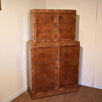 Art Deco burr walnut cocktail cabinet with fully fitted interior