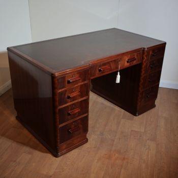 Art Deco mahogany pedestal desk by Wylie & Lochhead, Glasgow