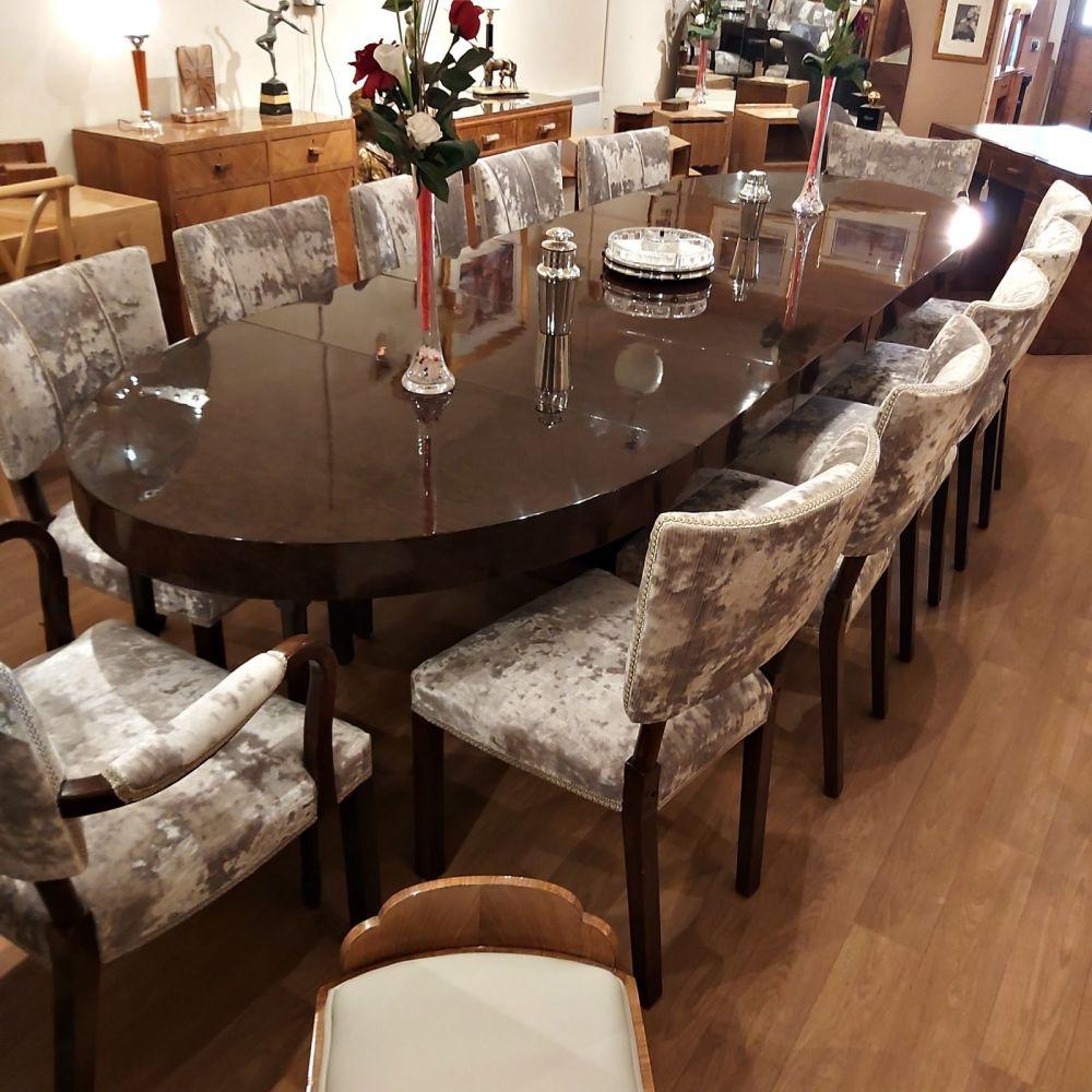 Fine Art Deco Burr Walnut Twelve Seater Dining Suite