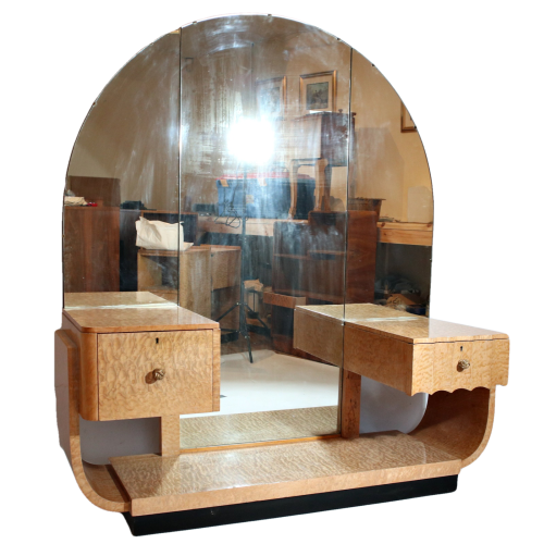 Art Deco quilted  maple dressing table by Hille