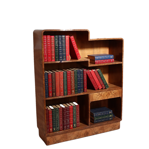 Art Deco walnut bookcase of diminutive proportions