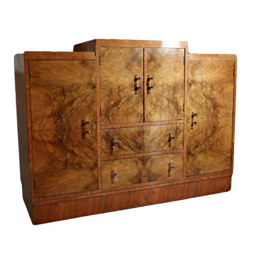 Art Deco figured walnut sideboard with Lucite handles.