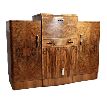 Art Deco figured walnut cocktail sideboard by Singers of Shoreditch