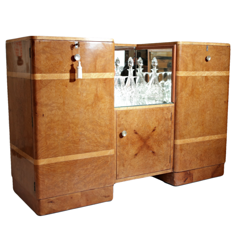 Art Deco burr maple cocktail sideboard with birds eye maple banding