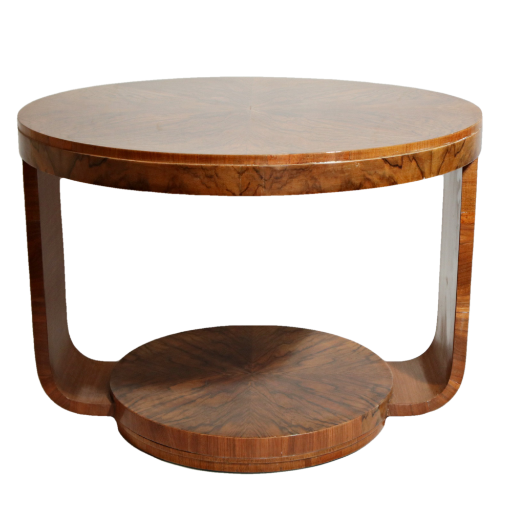Fine Art Deco figured walnut u-based coffee table.