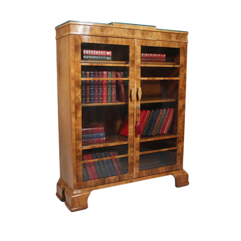 Art Deco walnut glazed front bookcase with original bakelite handles