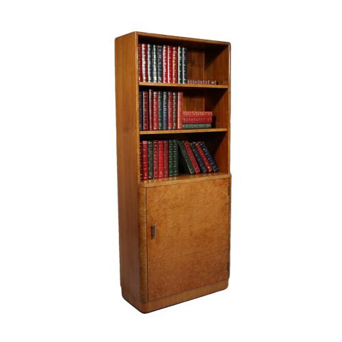 Art Deco burr walnut bookcase of unusual slim proportions