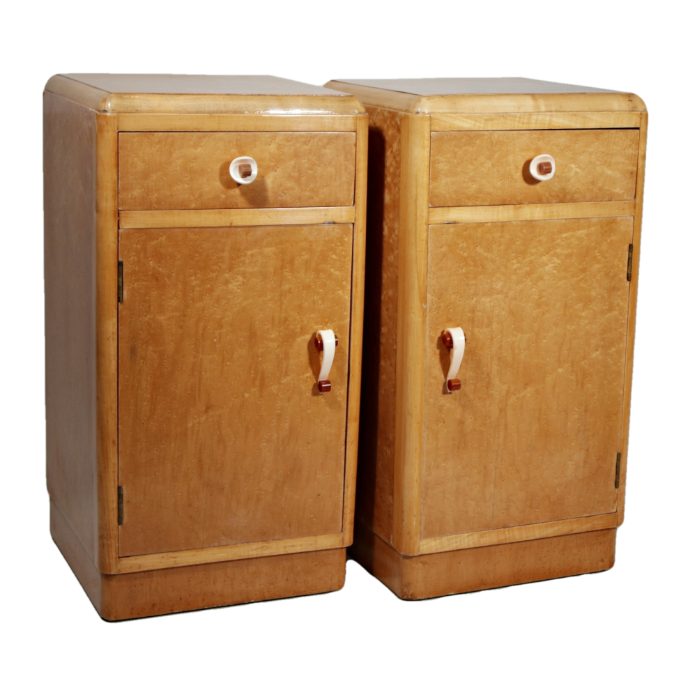 Pair of Art Deco birds eye maple bedside cabinets with original handles