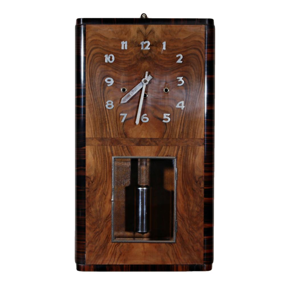 Art Deco figured walnut and macassar ebony Westminster Chime wall clock