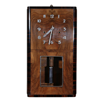 Art Deco figured walnut and macassar ebony Westminster Chime wall clock