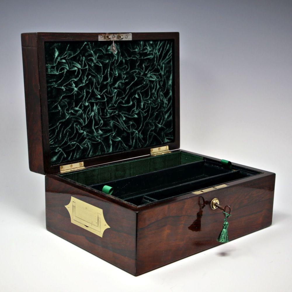 Antiquerosewood jewellery box.