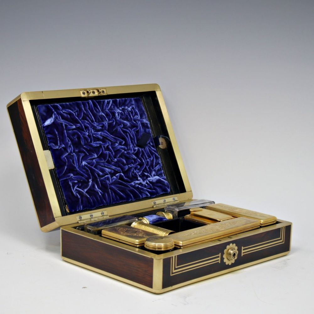 Superb antique rosewood and brass inlaid dressing case
