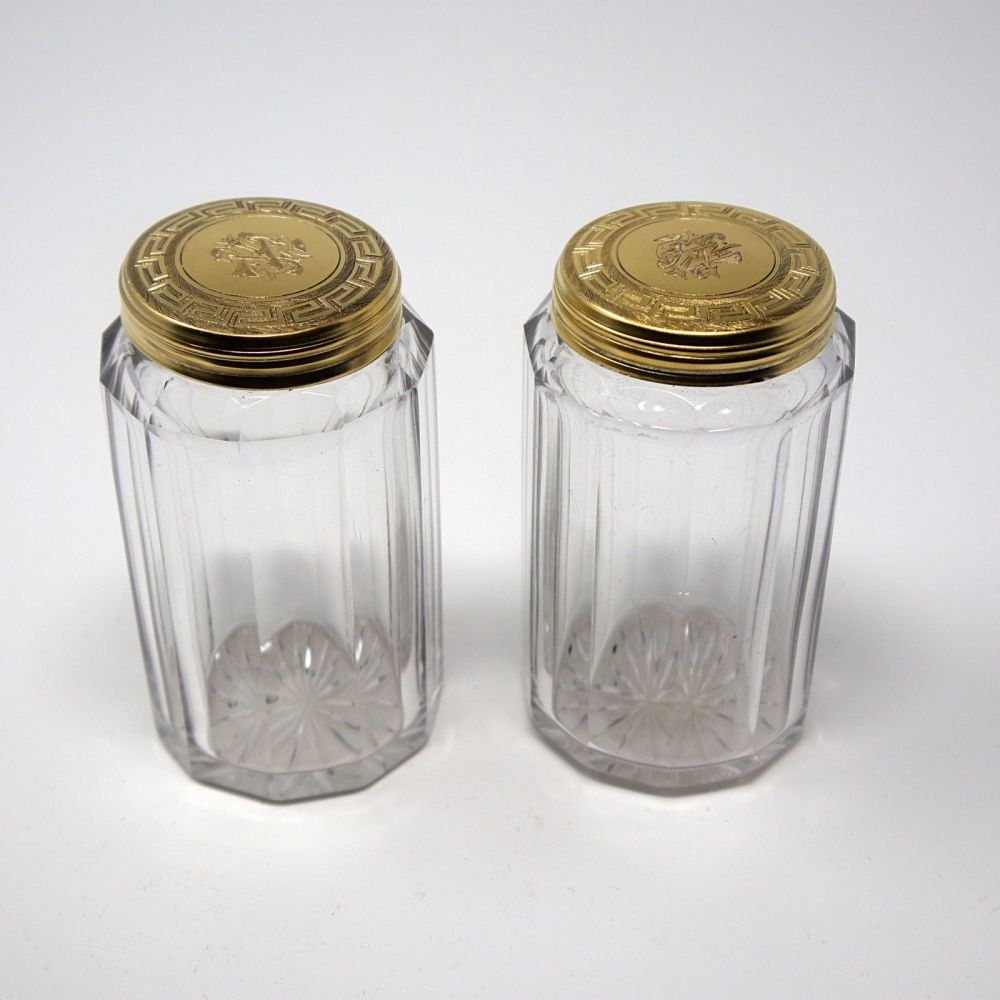 Antique silver gilt dressing table jars William Neal London 1868