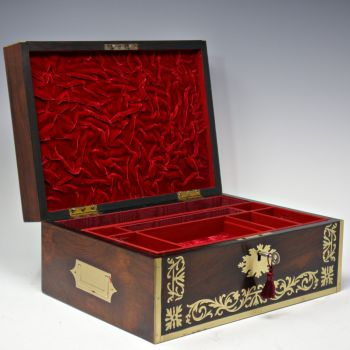 Antique rosewood jewellery box.