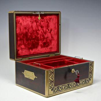 Antique rosewood jewellery box by Lamb & Wells.