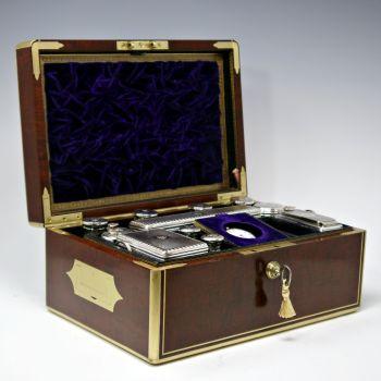 Antique mahogany dressing box by W&J Milne, Edinburgh