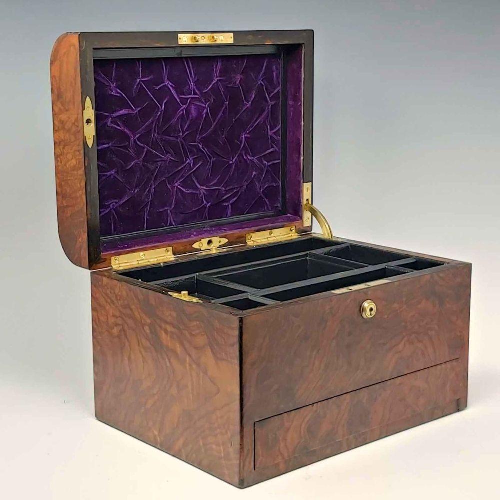 Antique walnut jewellery box.