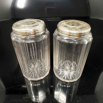 Pair of antique sterling silver dressing table jars.