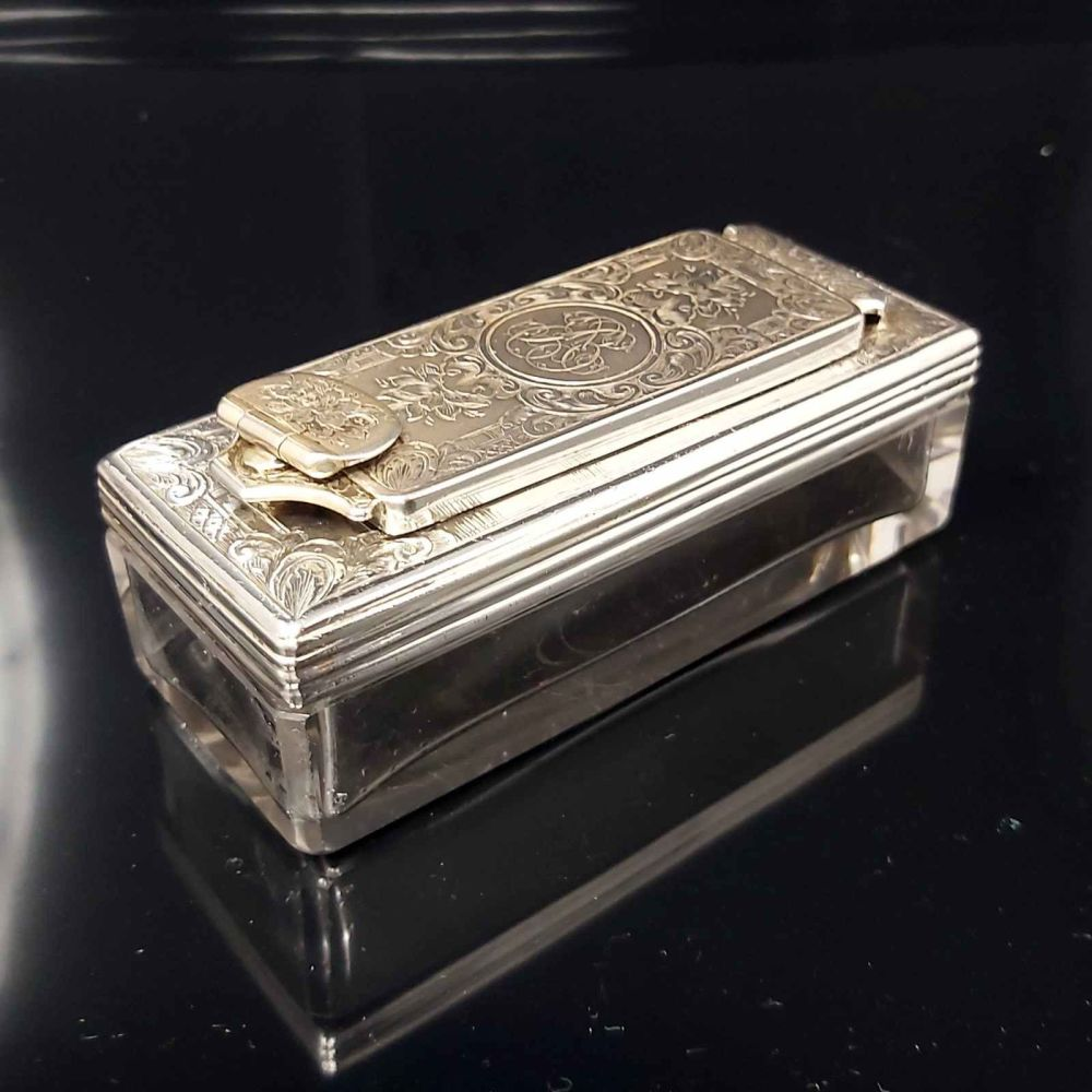 Antique sterling silver lock down travelling inkwell.
