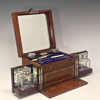 Antique amboyna dressing box by Edwards.