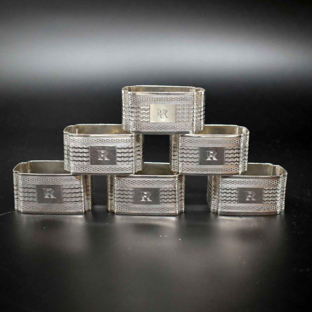 Set of Six Art Deco napkin rings.