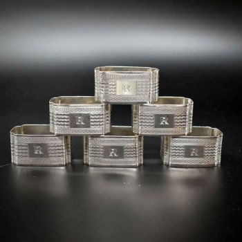 Set of Six Art Deco napkin rings.