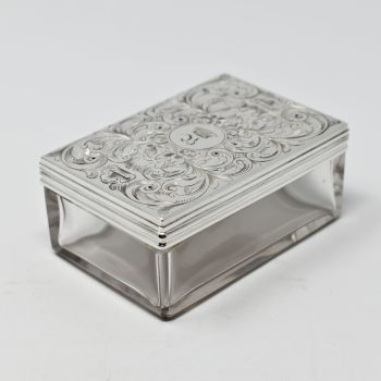 Fine antique sterling silver topped table box.