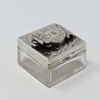 Fine antique sterling silver topped travel lockdown inkwell