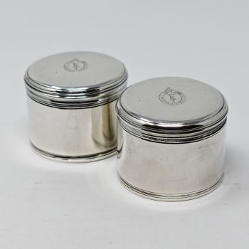 Fine pair of antique sterling silver table / pill boxes.