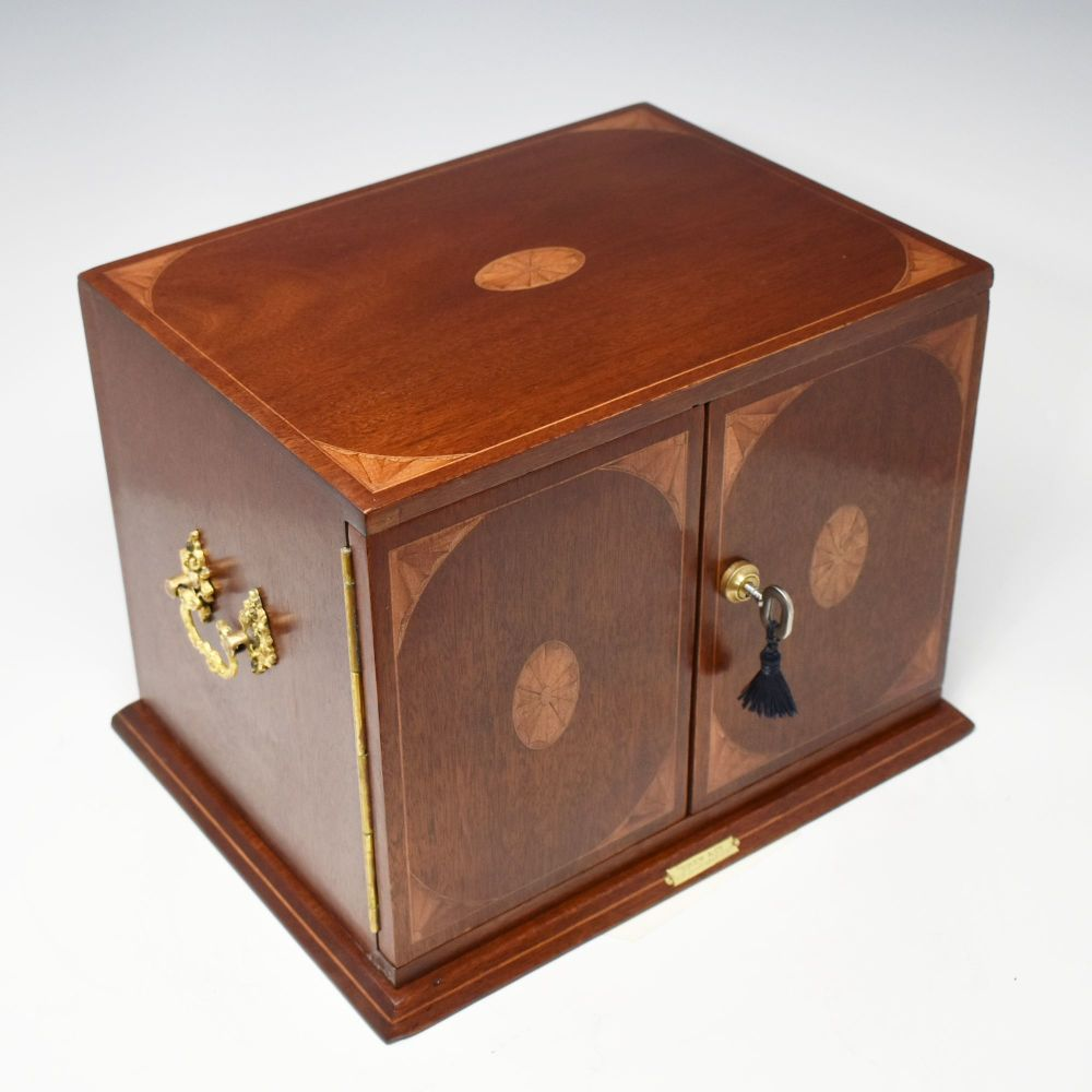 Antique mahogany and inlaid jewellery box by Drew & Co.