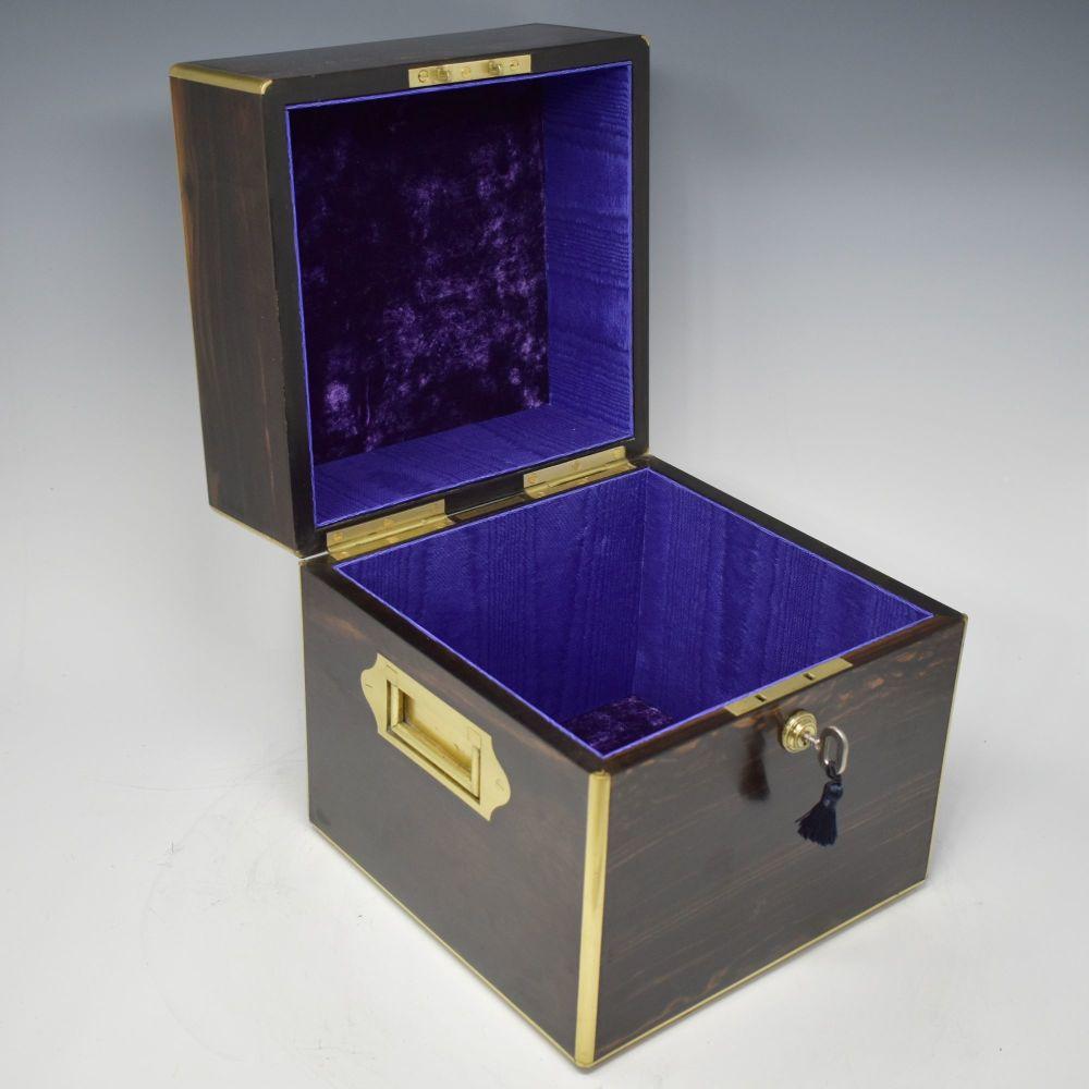 Antique coromandel & brass bound jewellery box.