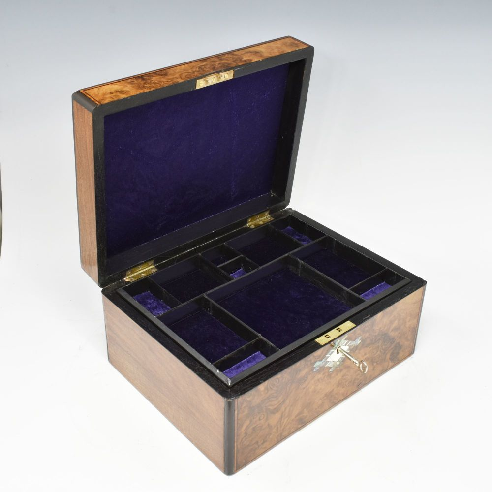 Antique burr walnut and inlaid jewellery box.