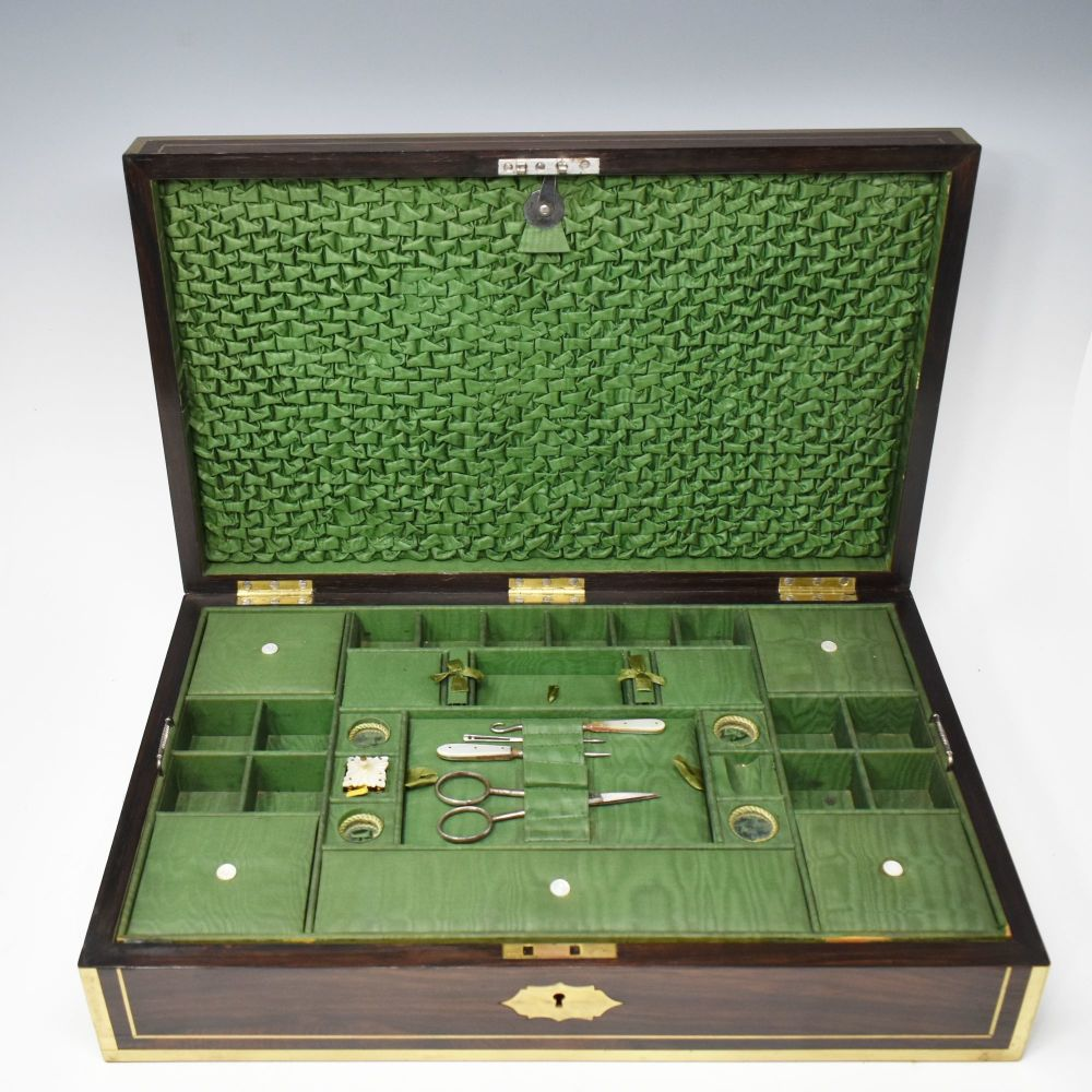 Fine antique rosewood jewellery / sewing box by G C Diller London