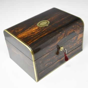 Fine antique coromandel jewellery box by B B Wells