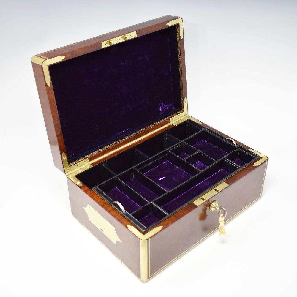 Fine antique mahogany jewellery box by Milne of Edinburgh