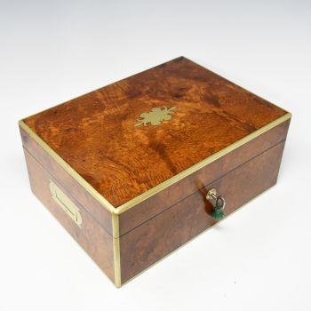 Antique amboyna jewellery box.