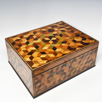 Stunning large 19th century parquetry inlaid box.