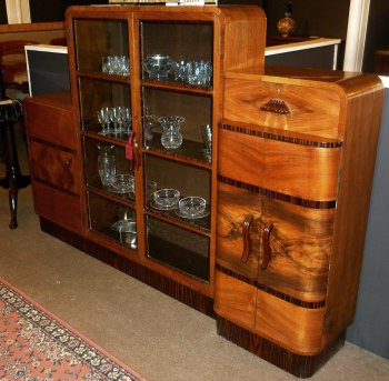 Art Deco Walnut & Macassar Ebony banded bookcase