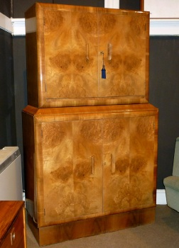 Art Deco Blonde Walnut Cocktail Cabinet