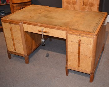 Art Deco walnut & birds eye maple desk