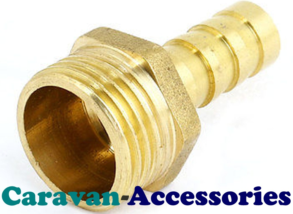 "BRM3812 Brass Threaded to Barbed Straight Water Fitting (3/8"" BSP Male to 1/2"" (12mm) Barb)"