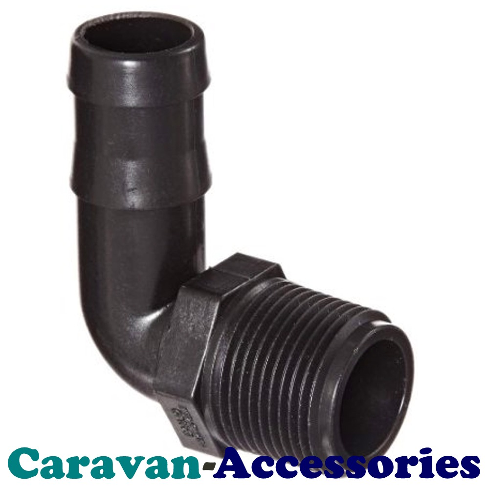 "ELB3812 Threaded to Barbed Elbow Water Fitting (3/8"" BSP Male to 1/2"" (12mm) Barb)"