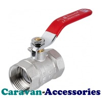 "SDT075M Brass 20mm (3/4"") Female Threaded In-Line Ball Valve Red Handle"